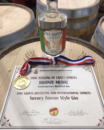 Five Saints Distilling - American Distilling Institute 2018 Award Winner